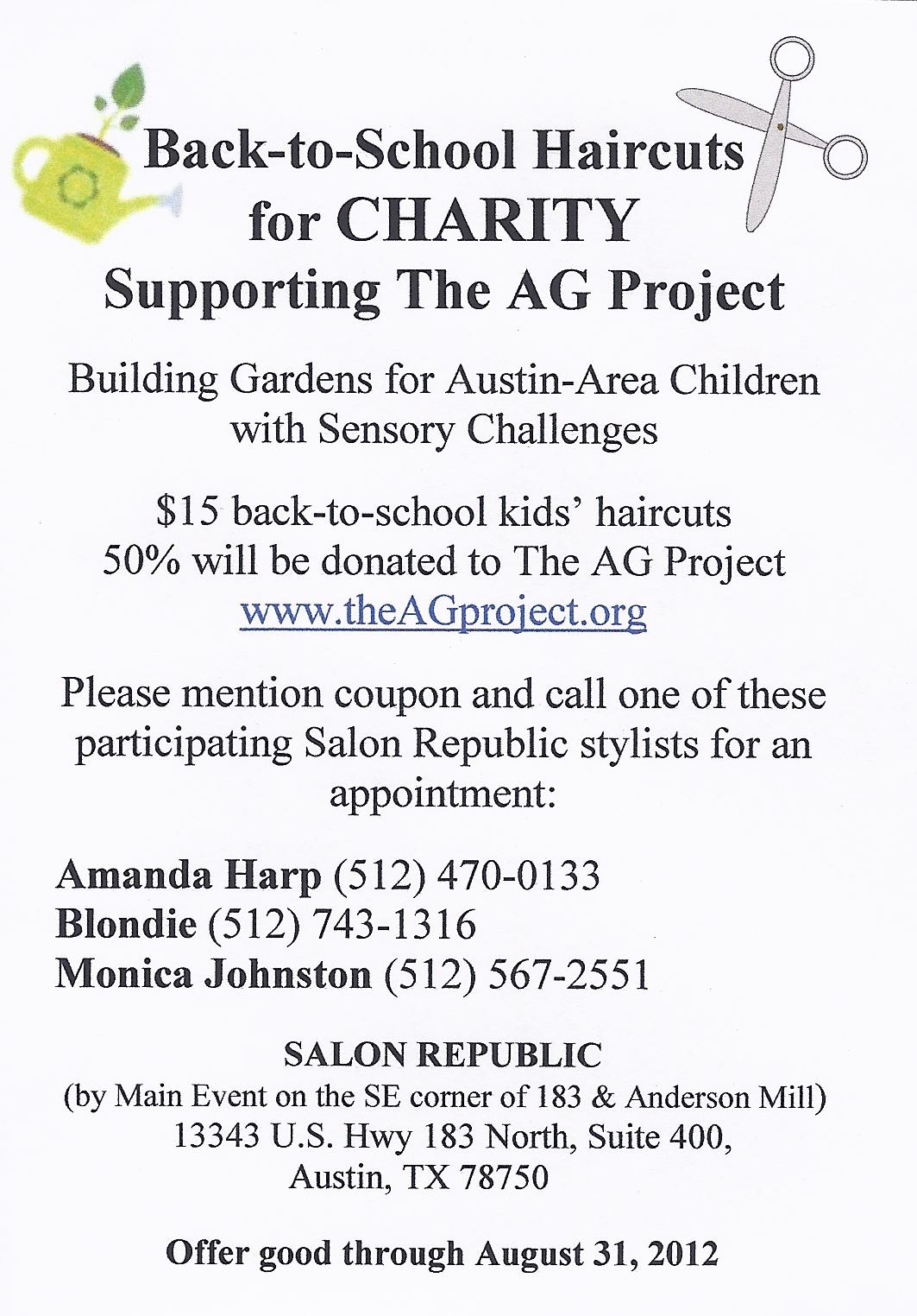 Back To School Haircut Fundraiser The Ag Project